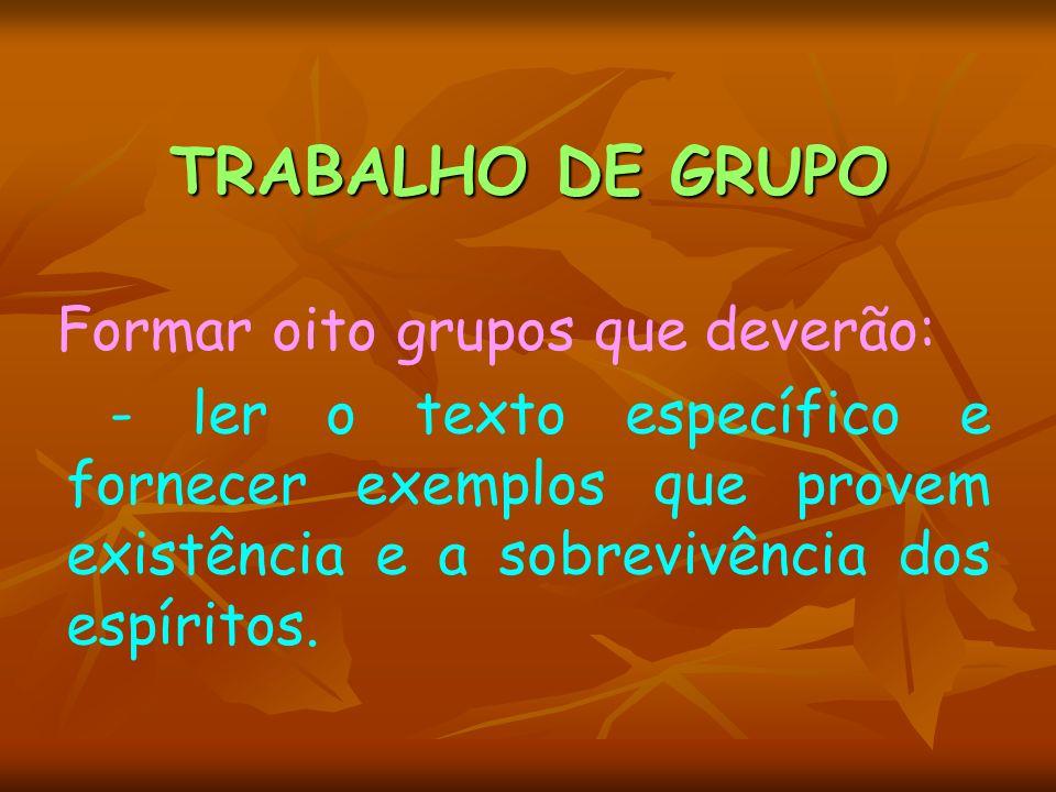 TRABALHO DE GRUPO Formar oito grupos que deverão: - ler o texto específico e fornecer exemplos que provem existência e a sobrevivência dos espíritos.
