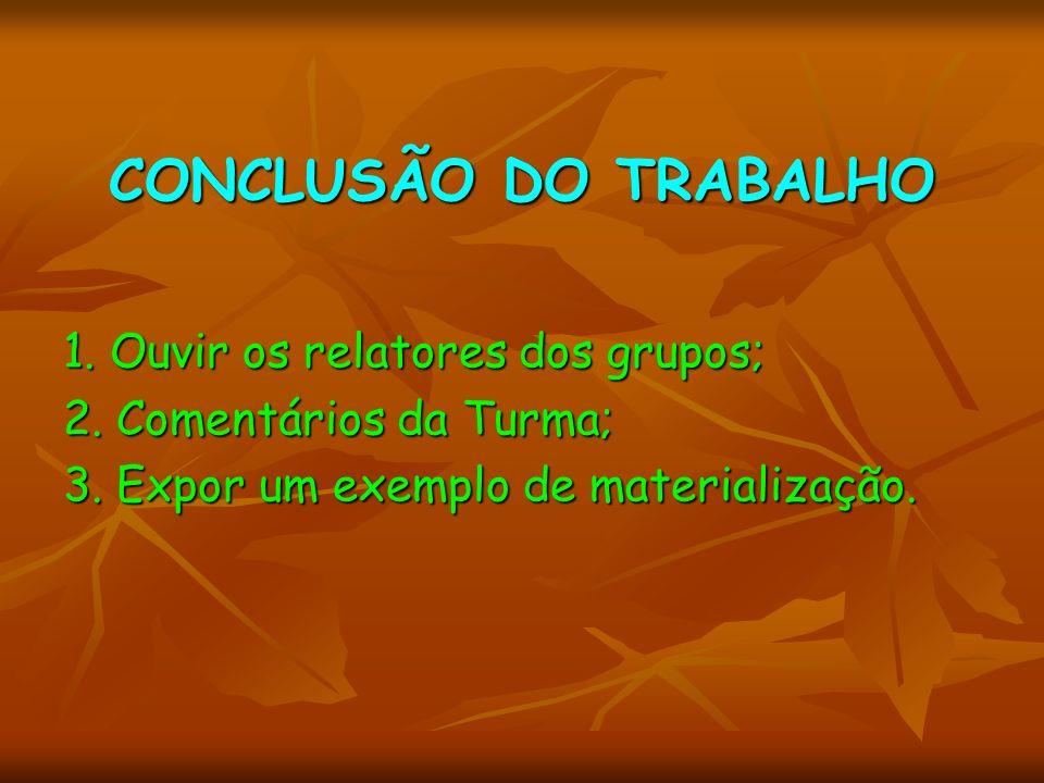 CONCLUSÃO DO TRABALHO 1. Ouvir os relatores dos grupos; 2. Comentários da Turma; 3. Expor um exemplo de materialização.