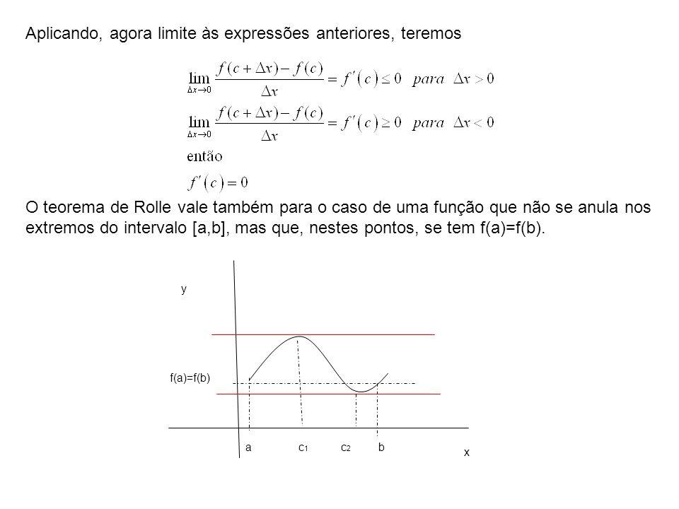Aplicando, agora limite às expressões anteriores, teremos O teorema de Rolle vale também para o caso de uma função que não se anula nos extremos do in