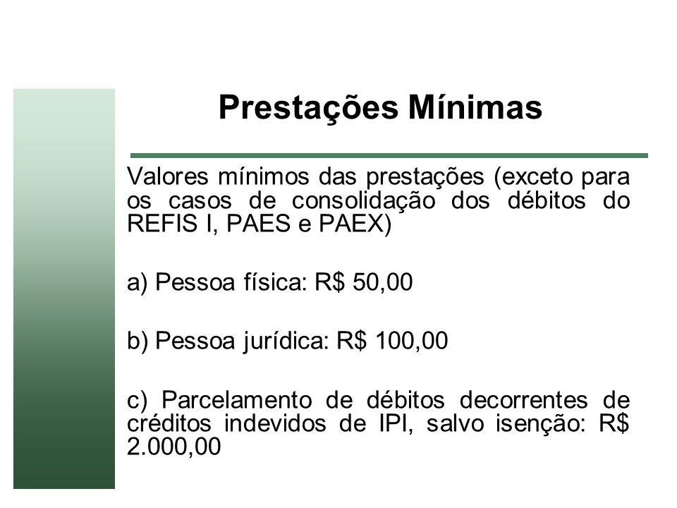 Prestações Mínimas Valores mínimos das prestações (exceto para os casos de consolidação dos débitos do REFIS I, PAES e PAEX) a) Pessoa física: R$ 50,0
