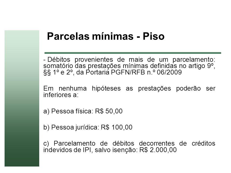 Parcelas mínimas - Piso - Débitos provenientes de mais de um parcelamento: somatório das prestações mínimas definidas no artigo 9º, §§ 1º e 2º, da Por