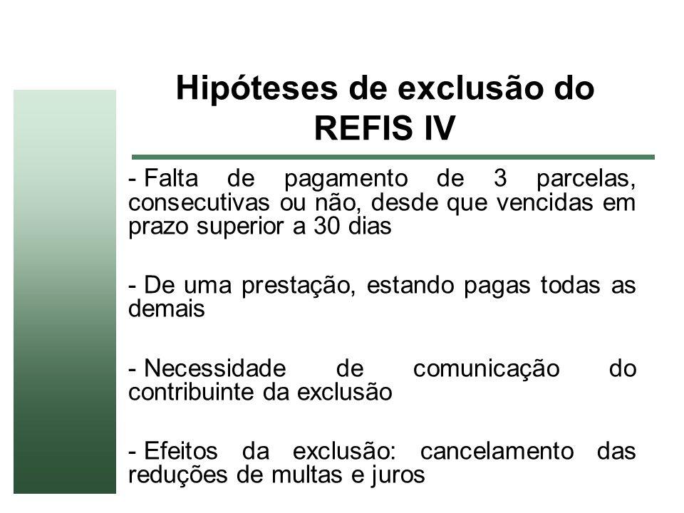 Hipóteses de exclusão do REFIS IV - Falta de pagamento de 3 parcelas, consecutivas ou não, desde que vencidas em prazo superior a 30 dias - De uma pre
