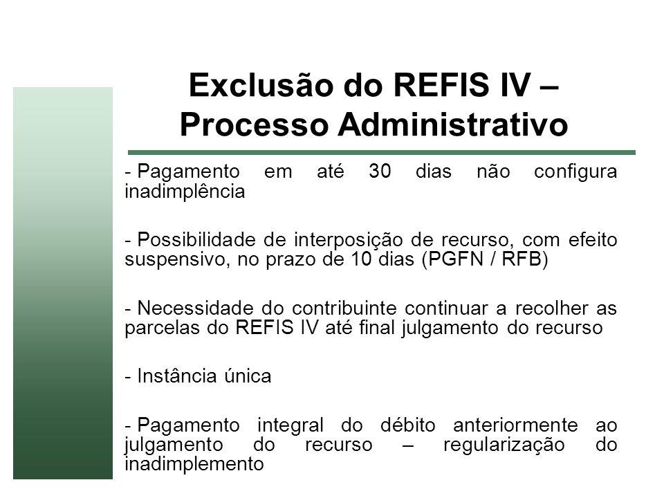 Exclusão do REFIS IV – Processo Administrativo - Pagamento em até 30 dias não configura inadimplência - Possibilidade de interposição de recurso, com