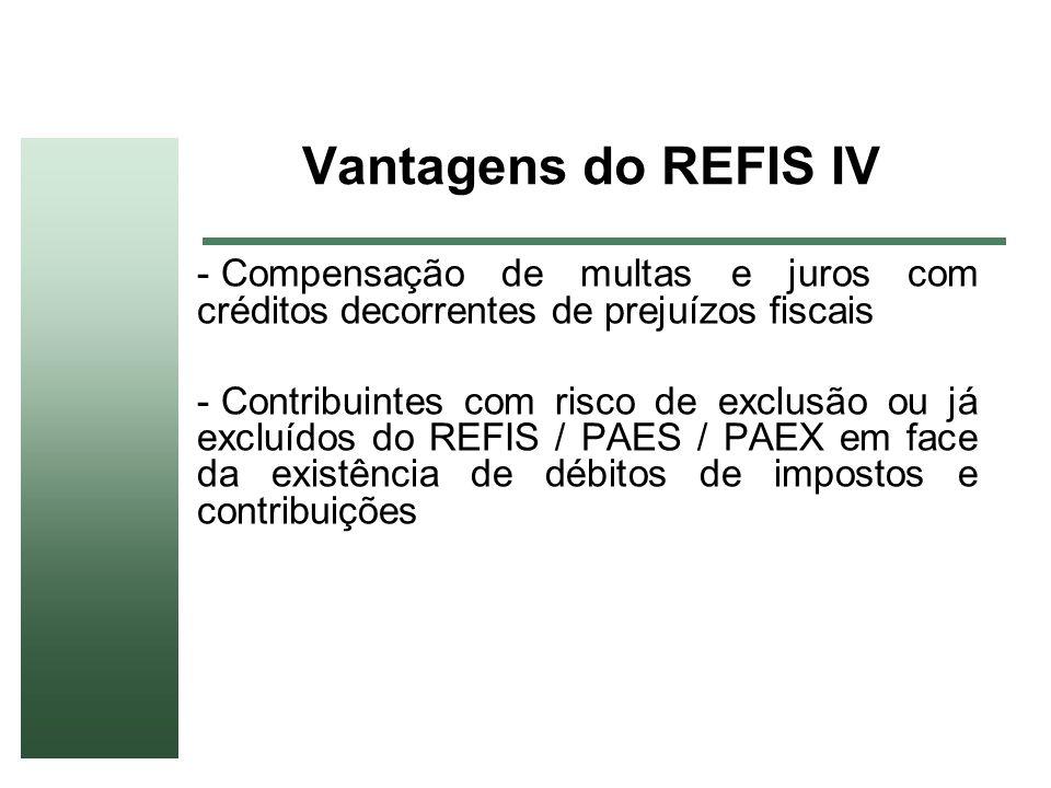 Vantagens do REFIS IV - Compensação de multas e juros com créditos decorrentes de prejuízos fiscais - Contribuintes com risco de exclusão ou já excluí