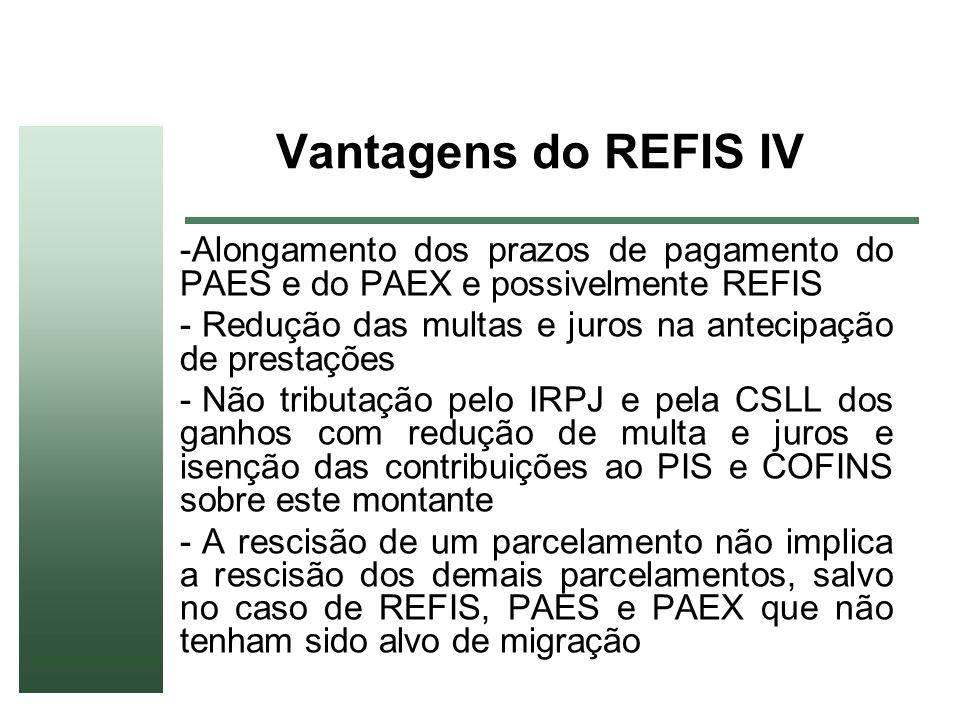 Vantagens do REFIS IV -Alongamento dos prazos de pagamento do PAES e do PAEX e possivelmente REFIS - Redução das multas e juros na antecipação de pres
