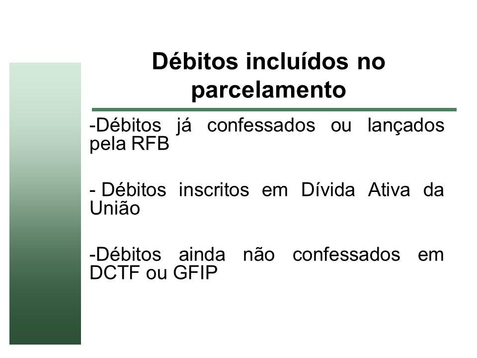 Débitos incluídos no parcelamento -Débitos já confessados ou lançados pela RFB - Débitos inscritos em Dívida Ativa da União -Débitos ainda não confess