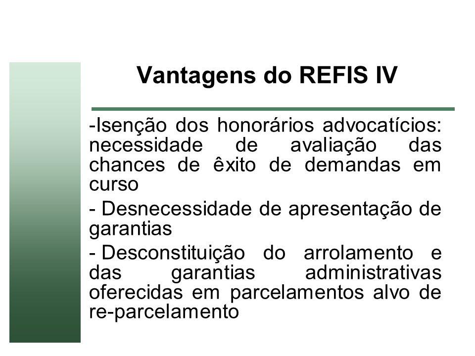 Vantagens do REFIS IV -Isenção dos honorários advocatícios: necessidade de avaliação das chances de êxito de demandas em curso - Desnecessidade de apr