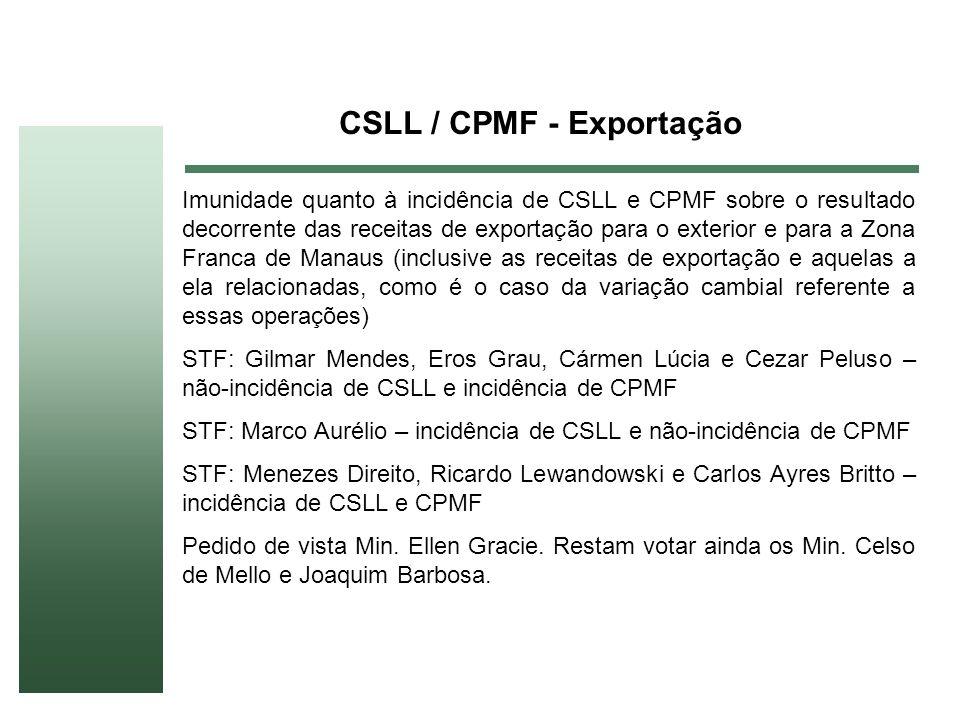 CSLL / CPMF - Exportação Imunidade quanto à incidência de CSLL e CPMF sobre o resultado decorrente das receitas de exportação para o exterior e para a