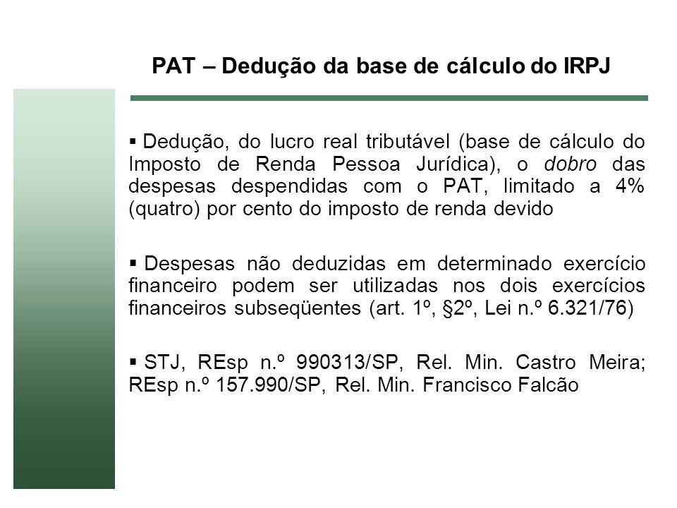 PAT – Dedução da base de cálculo do IRPJ Dedução, do lucro real tributável (base de cálculo do Imposto de Renda Pessoa Jurídica), o dobro das despesas