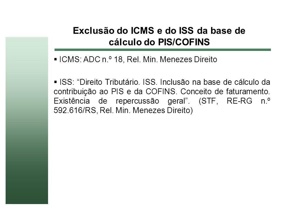 Exclusão do ICMS e do ISS da base de cálculo do PIS/COFINS ICMS: ADC n.º 18, Rel. Min. Menezes Direito ISS: Direito Tributário. ISS. Inclusão na base