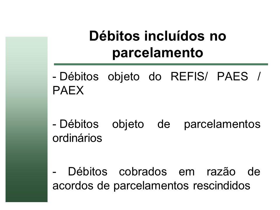 Débitos incluídos no parcelamento - Débitos objeto do REFIS/ PAES / PAEX - Débitos objeto de parcelamentos ordinários - Débitos cobrados em razão de a