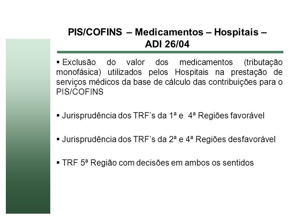 PIS/COFINS – Medicamentos – Hospitais – ADI 26/04 Exclusão do valor dos medicamentos (tributação monofásica) utilizados pelos Hospitais na prestação d