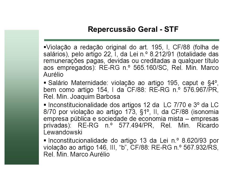Repercussão Geral - STF Violação a redação original do art. 195, I, CF/88 (folha de salários), pelo artigo 22, I, da Lei n.º 8.212/91 (totalidade das