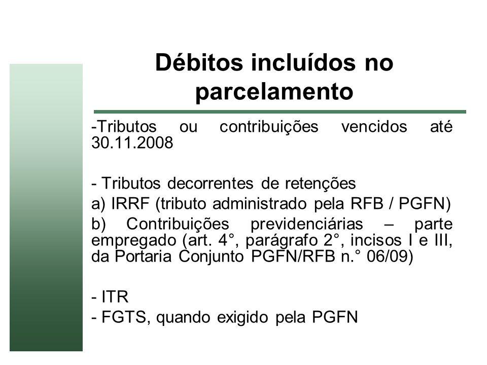 Débitos incluídos no parcelamento -Tributos ou contribuições vencidos até 30.11.2008 - Tributos decorrentes de retenções a) IRRF (tributo administrado