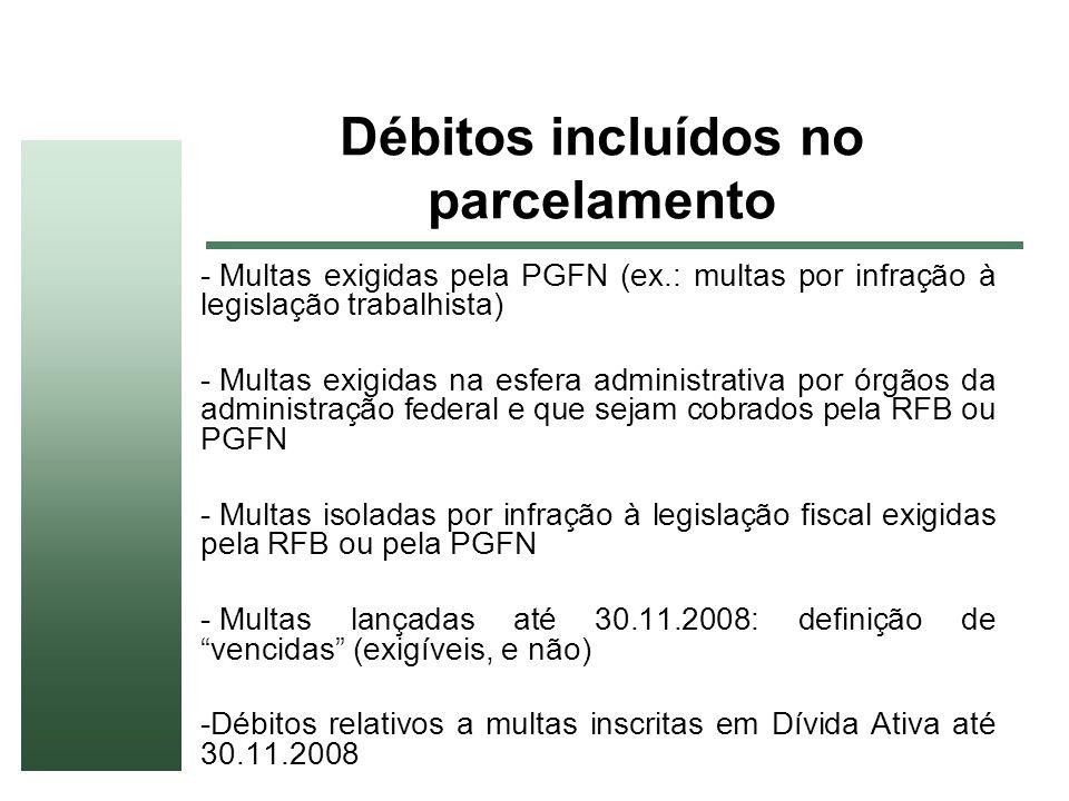 Débitos incluídos no parcelamento - Multas exigidas pela PGFN (ex.: multas por infração à legislação trabalhista) - Multas exigidas na esfera administ