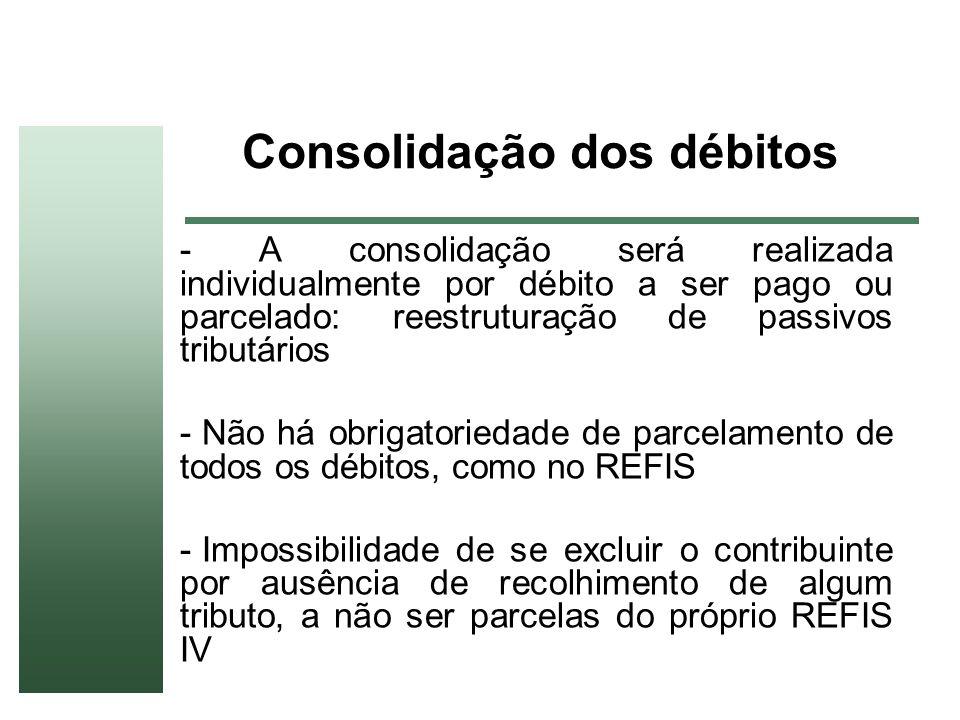 Consolidação dos débitos - A consolidação será realizada individualmente por débito a ser pago ou parcelado: reestruturação de passivos tributários -