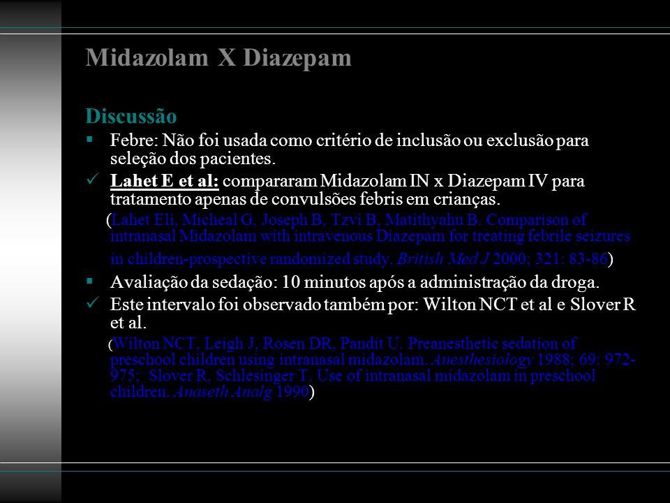 Midazolam X Diazepam Discussão Febre: Não foi usada como critério de inclusão ou exclusão para seleção dos pacientes. Lahet E et al: compararam Midazo