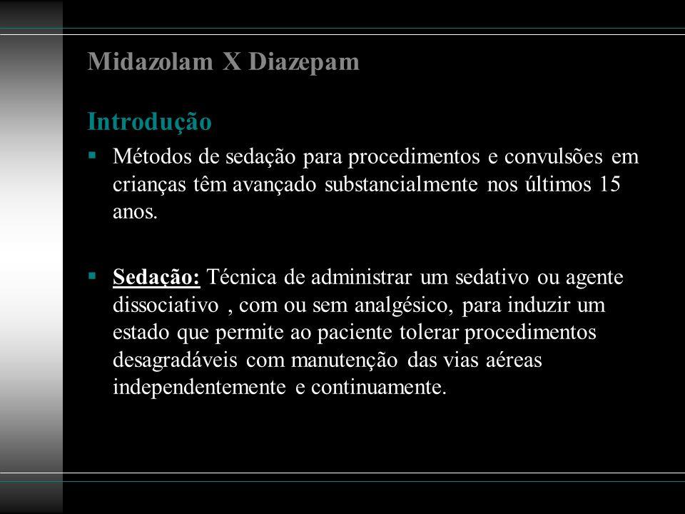 Midazolam X Diazepam Introdução Métodos de sedação para procedimentos e convulsões em crianças têm avançado substancialmente nos últimos 15 anos. Seda