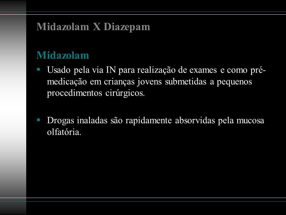 Midazolam X Diazepam Midazolam Usado pela via IN para realização de exames e como pré- medicação em crianças jovens submetidas a pequenos procedimento