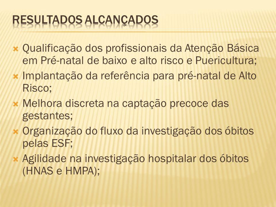 Qualificação dos profissionais da Atenção Básica em Pré-natal de baixo e alto risco e Puericultura; Implantação da referência para pré-natal de Alto R