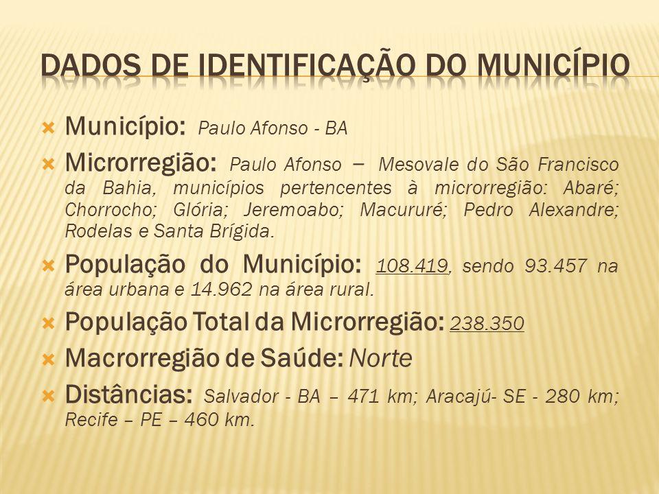 Município: Paulo Afonso - BA Microrregião: Paulo Afonso – Mesovale do São Francisco da Bahia, municípios pertencentes à microrregião: Abaré; Chorrocho