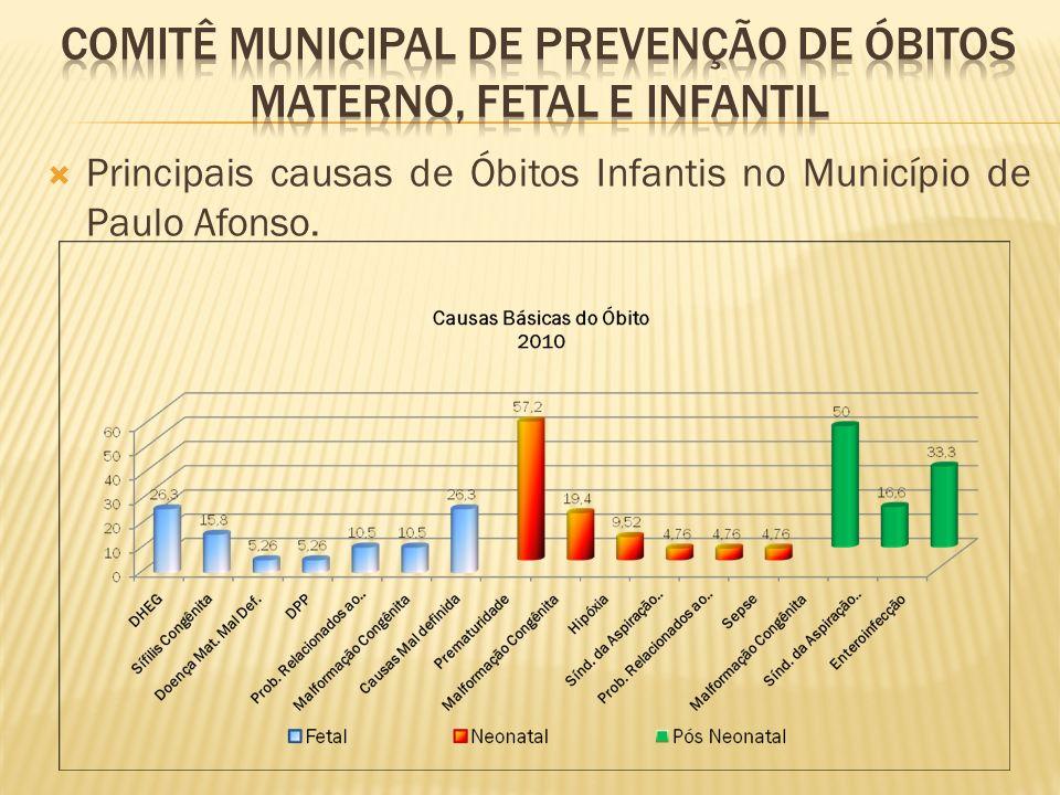 Principais causas de Óbitos Infantis no Município de Paulo Afonso.
