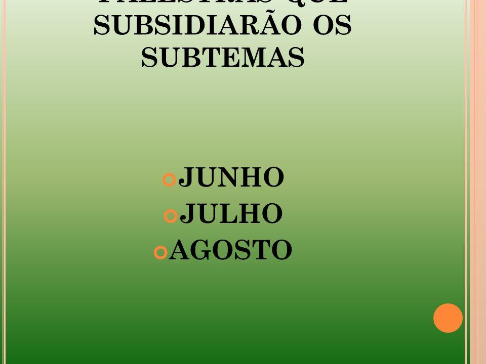 PALESTRAS QUE SUBSIDIARÃO OS SUBTEMAS JUNHO JULHO AGOSTO