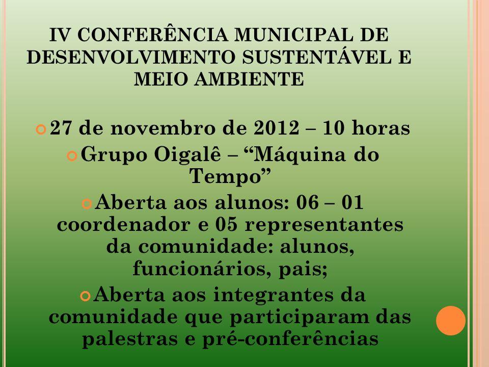 IV CONFERÊNCIA MUNICIPAL DE DESENVOLVIMENTO SUSTENTÁVEL E MEIO AMBIENTE 27 de novembro de 2012 – 10 horas Grupo Oigalê – Máquina do Tempo Aberta aos a