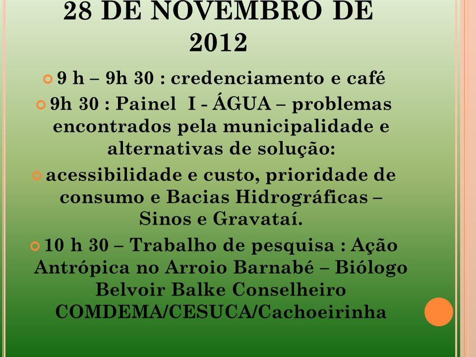 28 DE NOVEMBRO DE 2012 9 h – 9h 30 : credenciamento e café 9h 30 : Painel I - ÁGUA – problemas encontrados pela municipalidade e alternativas de soluç