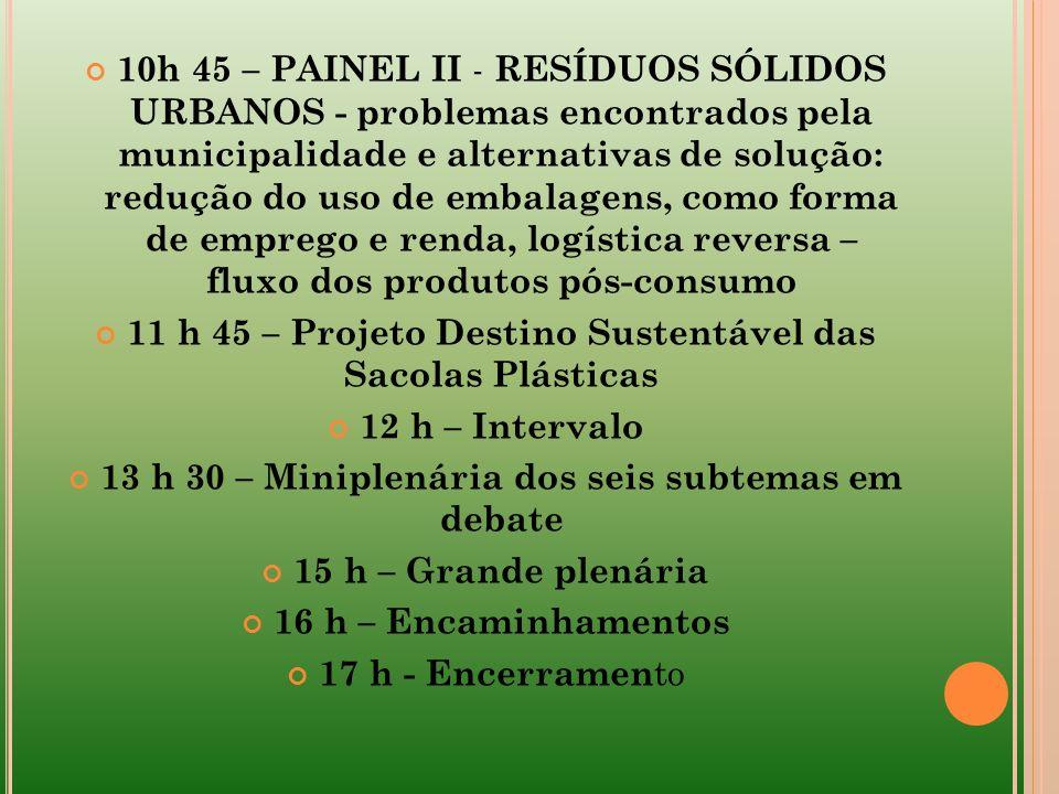 10h 45 – PAINEL II - RESÍDUOS SÓLIDOS URBANOS - problemas encontrados pela municipalidade e alternativas de solução: redução do uso de embalagens, com