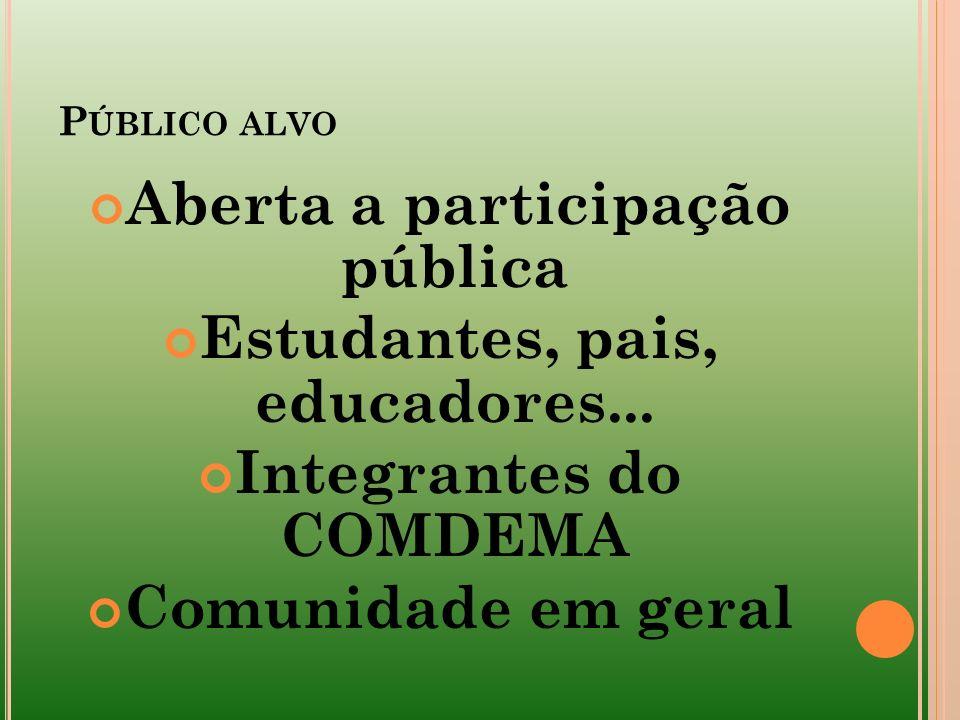 P ÚBLICO ALVO Aberta a participação pública Estudantes, pais, educadores... Integrantes do COMDEMA Comunidade em geral
