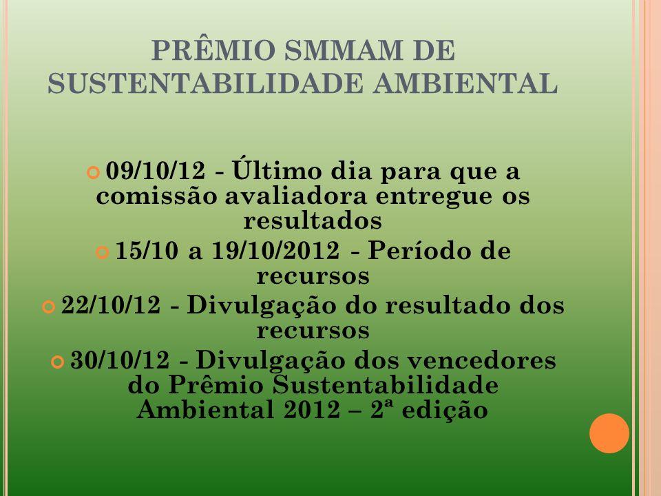 PRÊMIO SMMAM DE SUSTENTABILIDADE AMBIENTAL 09/10/12 - Último dia para que a comissão avaliadora entregue os resultados 15/10 a 19/10/2012 - Período de