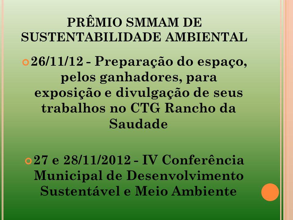 PRÊMIO SMMAM DE SUSTENTABILIDADE AMBIENTAL 26/11/12 - Preparação do espaço, pelos ganhadores, para exposição e divulgação de seus trabalhos no CTG Ran