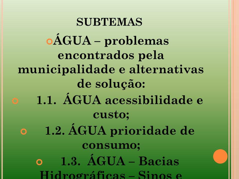 SUBTEMAS ÁGUA – problemas encontrados pela municipalidade e alternativas de solução: 1.1. ÁGUA acessibilidade e custo; 1.2. ÁGUA prioridade de consumo