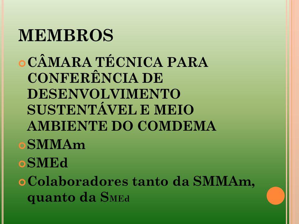 MEMBROS CÂMARA TÉCNICA PARA CONFERÊNCIA DE DESENVOLVIMENTO SUSTENTÁVEL E MEIO AMBIENTE DO COMDEMA SMMAm SMEd Colaboradores tanto da SMMAm, quanto da S