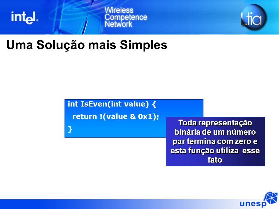 Uma Solução mais Simples int IsEven(int value) { return !(value & 0x1); } Toda representação binária de um número par termina com zero e esta função u
