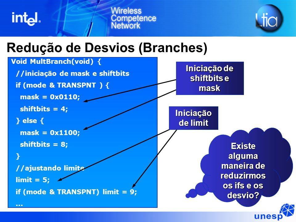 Redução de Desvios (Branches) Void MultBranch(void) { //iniciação de mask e shiftbits if (mode & TRANSPNT ) { mask = 0x0110; shiftbits = 4; } else { m