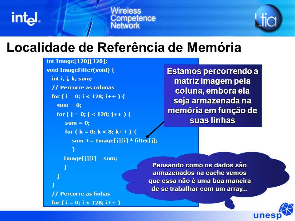 Localidade de Referência de Memória int Image[128][128]; void ImageFilter(void) { int i, j, k, sum; // Percorre as colunas for ( i = 0; i < 128; i++ )
