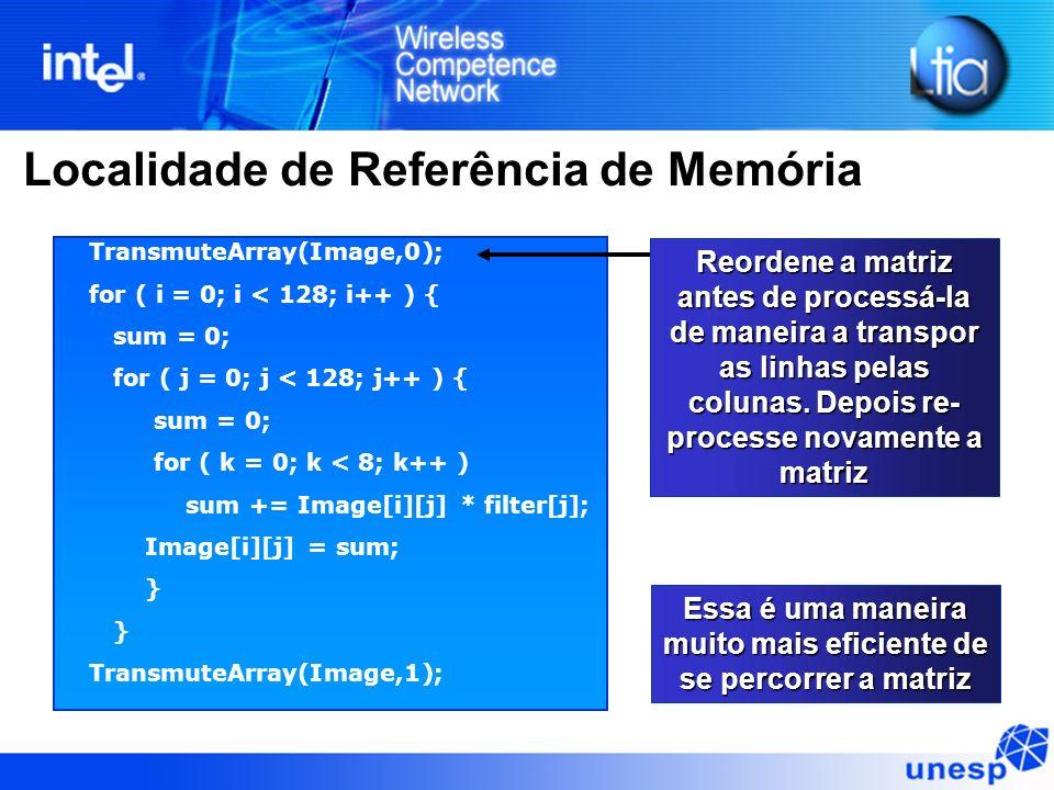 Localidade de Referência de Memória TransmuteArray(Image,0); for ( i = 0; i < 128; i++ ) { sum = 0; for ( j = 0; j < 128; j++ ) { sum = 0; for ( k = 0