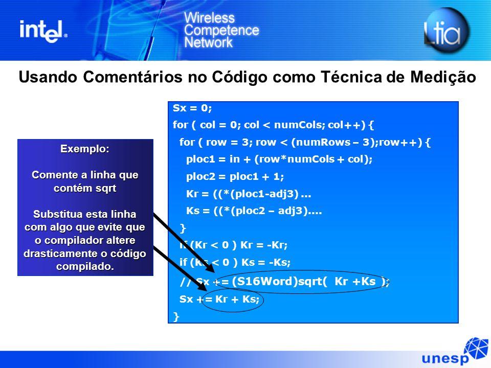 Usando Comentários no Código como Técnica de Medição Sx = 0; for ( col = 0; col < numCols; col++) { for ( row = 3; row < (numRows – 3);row++) { ploc1