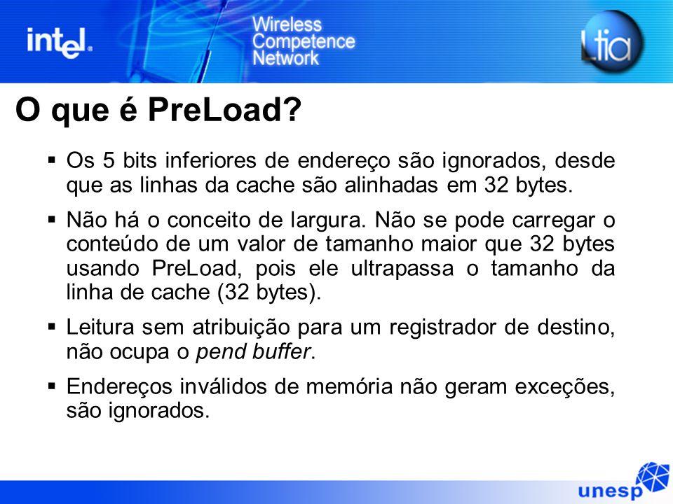 O que é PreLoad? Os 5 bits inferiores de endereço são ignorados, desde que as linhas da cache são alinhadas em 32 bytes. Não há o conceito de largura.
