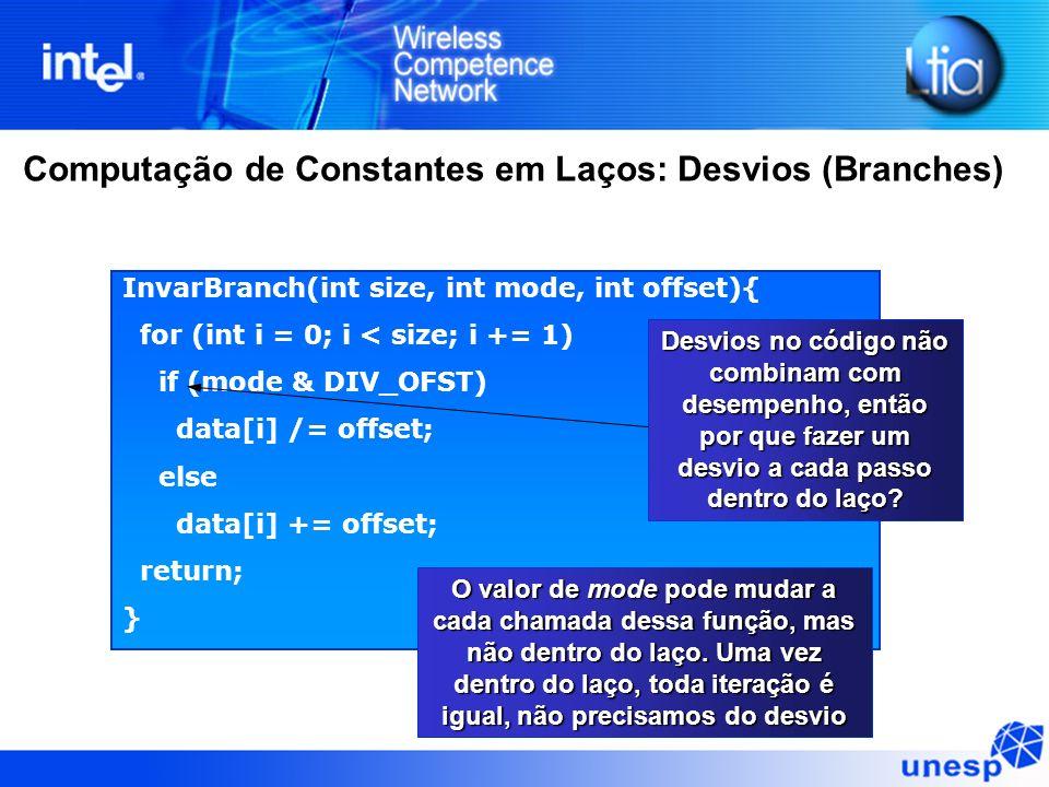 Computação de Constantes em Laços: Desvios (Branches) InvarBranch(int size, int mode, int offset){ for (int i = 0; i < size; i += 1) if (mode & DIV_OF
