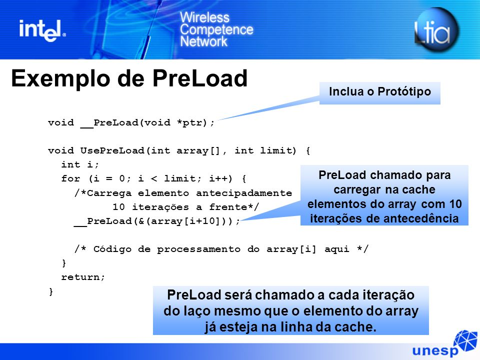 Exemplo de PreLoad void __PreLoad(void *ptr); void UsePreLoad(int array[], int limit) { int i; for (i = 0; i < limit; i++) { /*Carrega elemento anteci