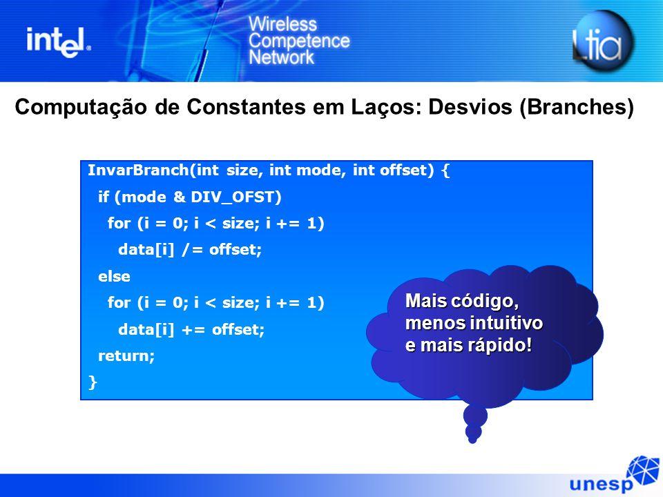 Computação de Constantes em Laços: Desvios (Branches) InvarBranch(int size, int mode, int offset) { if (mode & DIV_OFST) for (i = 0; i < size; i += 1)