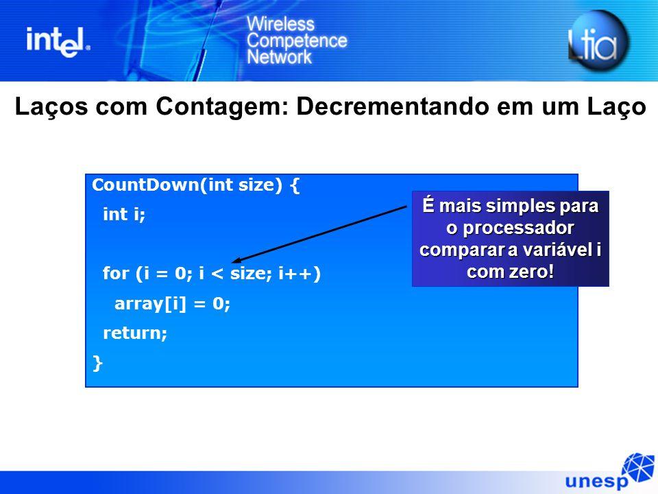 Laços com Contagem: Decrementando em um Laço CountDown(int size) { int i; for (i = 0; i < size; i++) array[i] = 0; return; } É mais simples para o pro