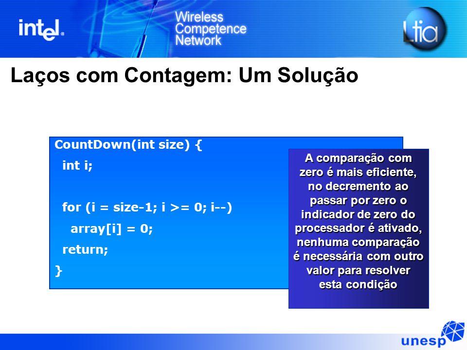 Laços com Contagem: Um Solução CountDown(int size) { int i; for (i = size-1; i >= 0; i--) array[i] = 0; return; } A comparação com zero é mais eficien