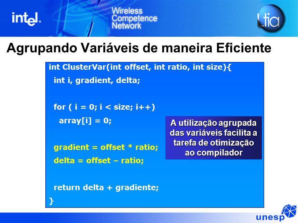 Agrupando Variáveis de maneira Eficiente int ClusterVar(int offset, int ratio, int size){ int i, gradient, delta; for ( i = 0; i < size; i++) array[i]
