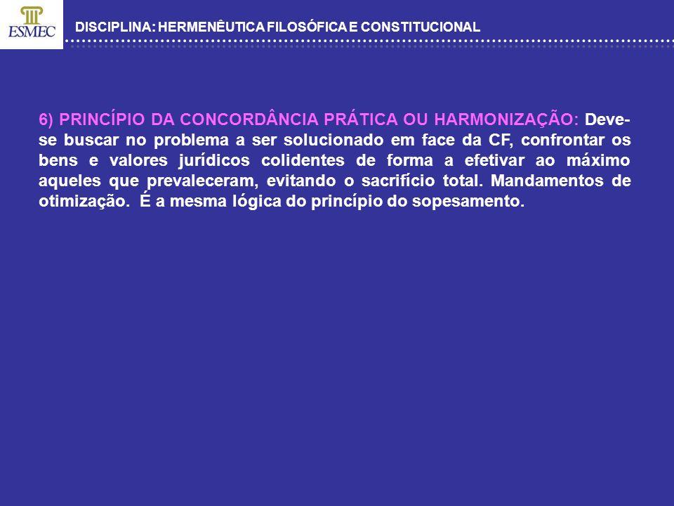 DISCIPLINA: HERMENÊUTICA FILOSÓFICA E CONSTITUCIONAL 6) PRINCÍPIO DA CONCORDÂNCIA PRÁTICA OU HARMONIZAÇÃO: Deve- se buscar no problema a ser soluciona