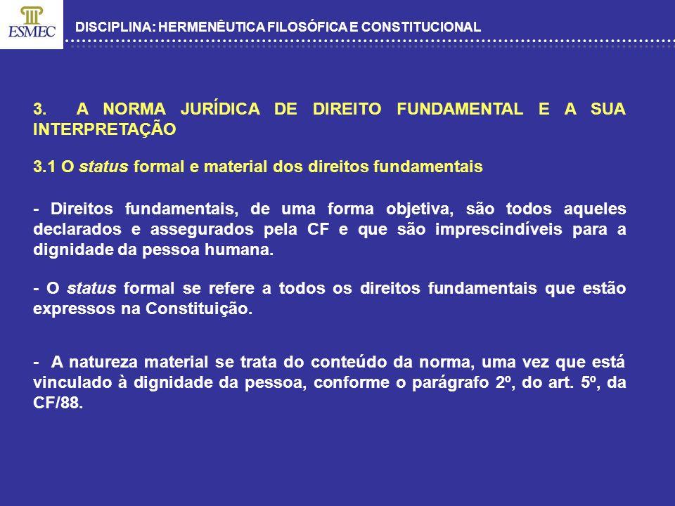 DISCIPLINA: HERMENÊUTICA FILOSÓFICA E CONSTITUCIONAL 3. A NORMA JURÍDICA DE DIREITO FUNDAMENTAL E A SUA INTERPRETAÇÃO 3.1 O status formal e material d