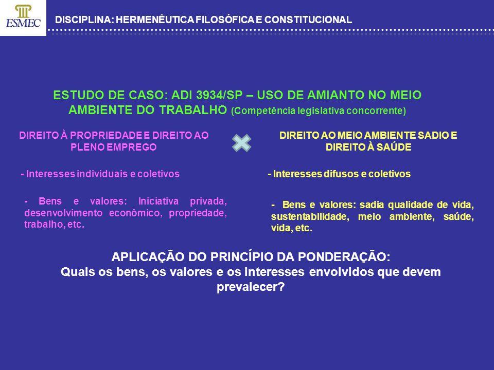 DISCIPLINA: HERMENÊUTICA FILOSÓFICA E CONSTITUCIONAL ESTUDO DE CASO: ADI 3934/SP – USO DE AMIANTO NO MEIO AMBIENTE DO TRABALHO (Competência legislativ